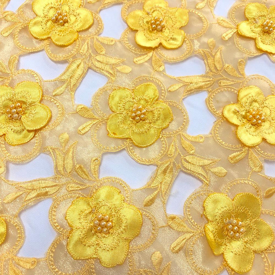 Yellow Floral Embroidery on Peach Organza Lace