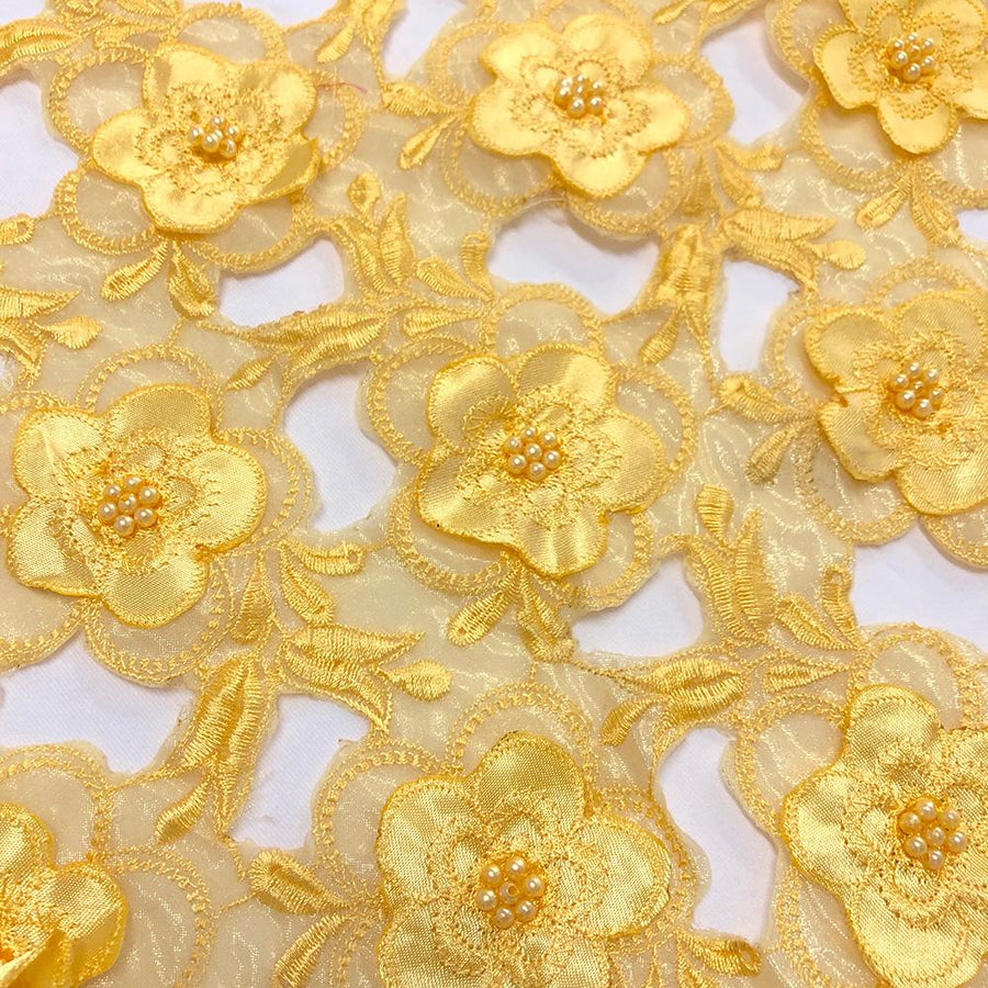 Yellow Floral Embroidery on Yellow Organza Lace