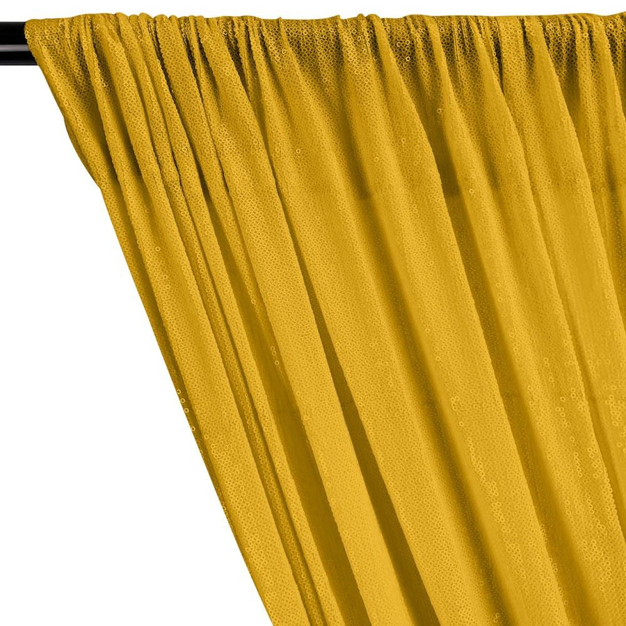 All-Over Micro Sequins Starlight On Stretch Mesh Rod Pocket Curtains - Yellow Gold