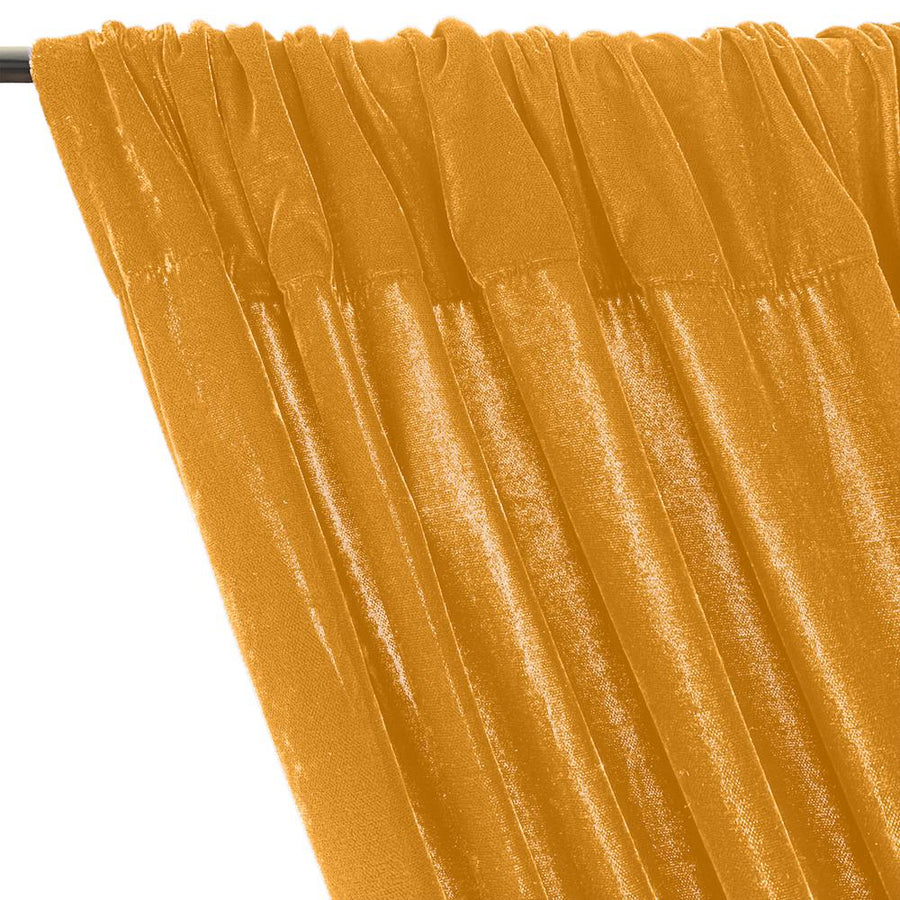 Micro Velvet Rod Pocket Curtains - Yellow