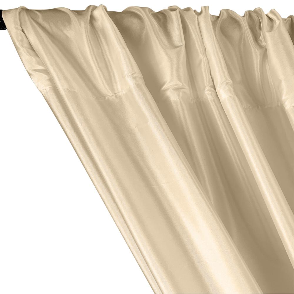 Polyester Taffeta Lining Rod Pocket Curtains - Beige
