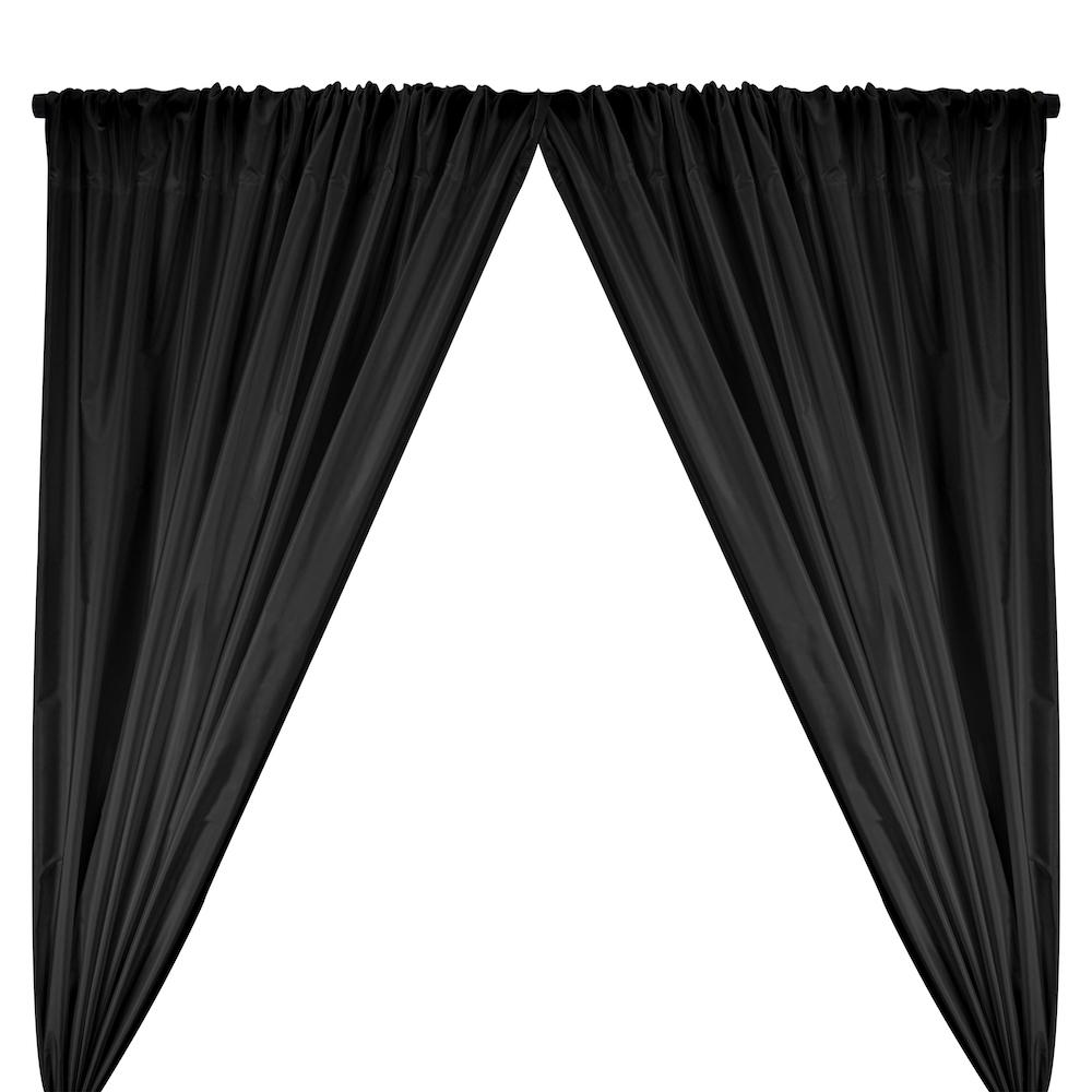 Polyester Taffeta Lining Rod Pocket Curtains - Black