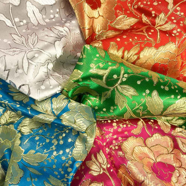 Metallic Brocade Fabric Collection Shiny Metallic