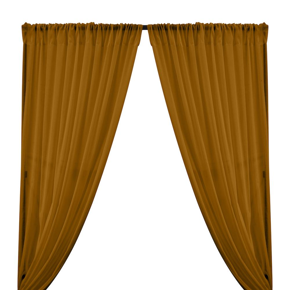 Cotton Voile Rod Pocket Curtains - Coffee