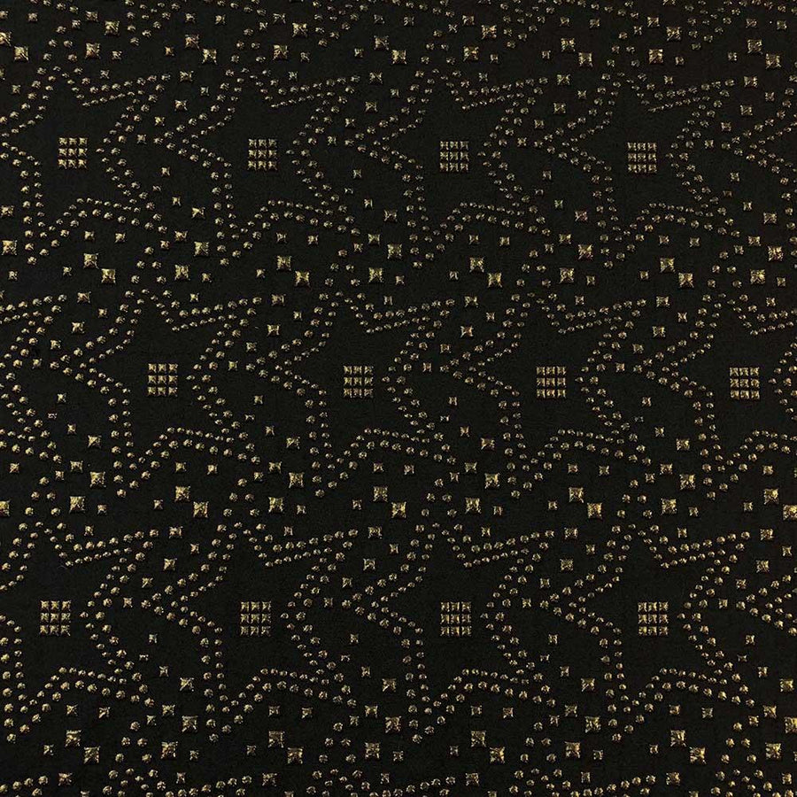 Embroidered Star Metallic Jacquard Fabric