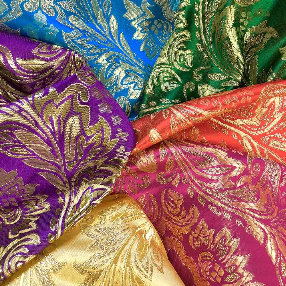 Floral Metallic Brocade Fabric Fabric