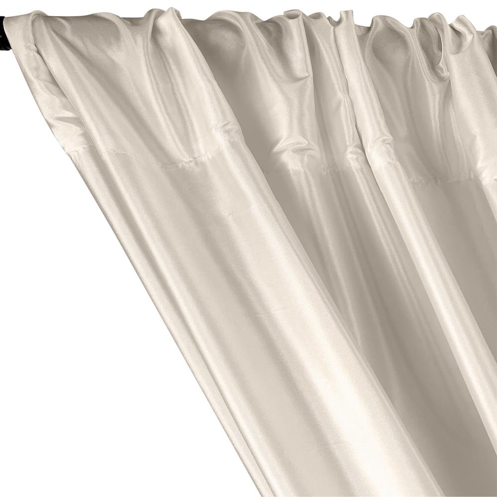 Polyester Taffeta Lining Rod Pocket Curtains - Ivory