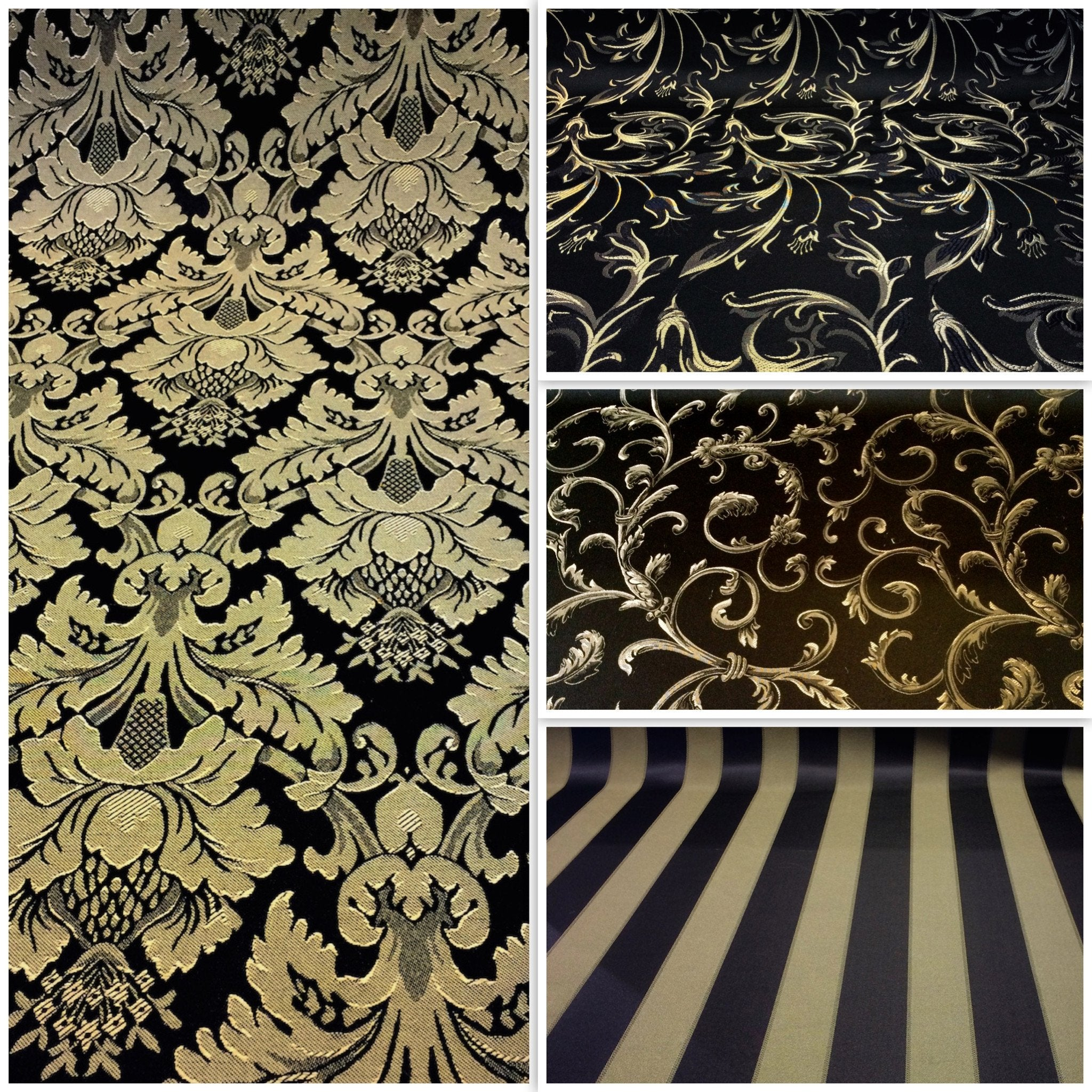 Jacquard Damask Fabric Wide Wholesale Discounts All Colors - Black and gold stripe drapery fabric