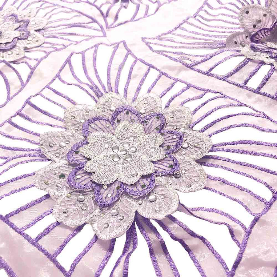 Lavender Beaded Embroidery Corded Organza