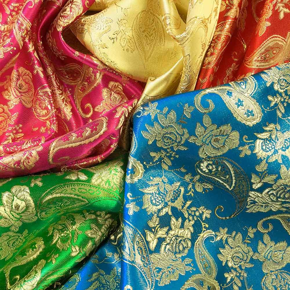 Paisley Flower Metallic Brocade