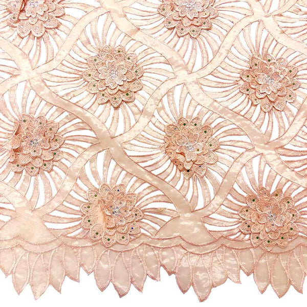 Peach Beaded Embroidery Corded Organza