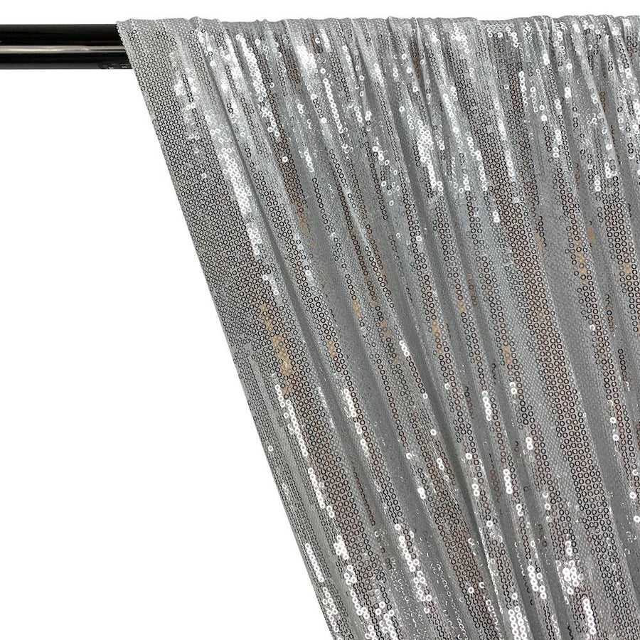 All-Over Micro Sequins Starlight On Stretch Mesh Rod Pocket Curtains - Silver