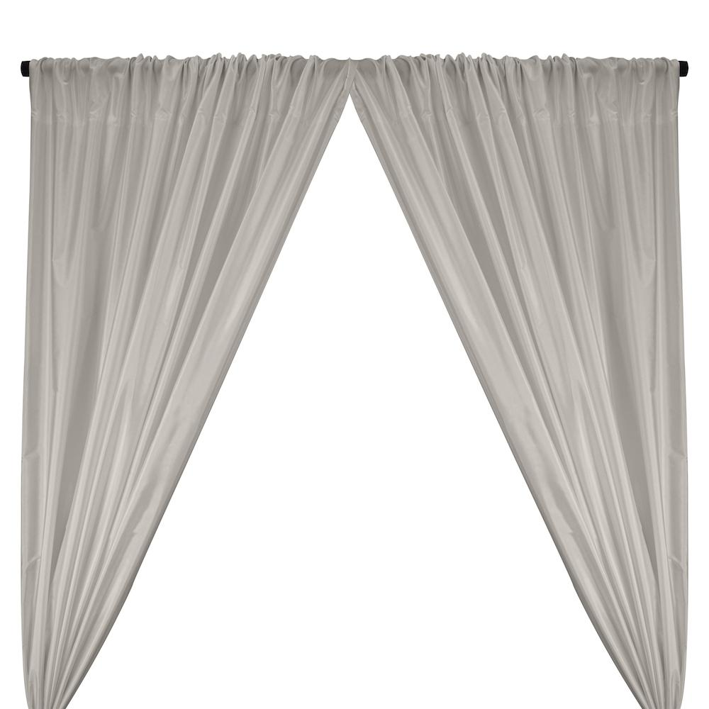 Polyester Taffeta Lining Rod Pocket Curtains - Silver
