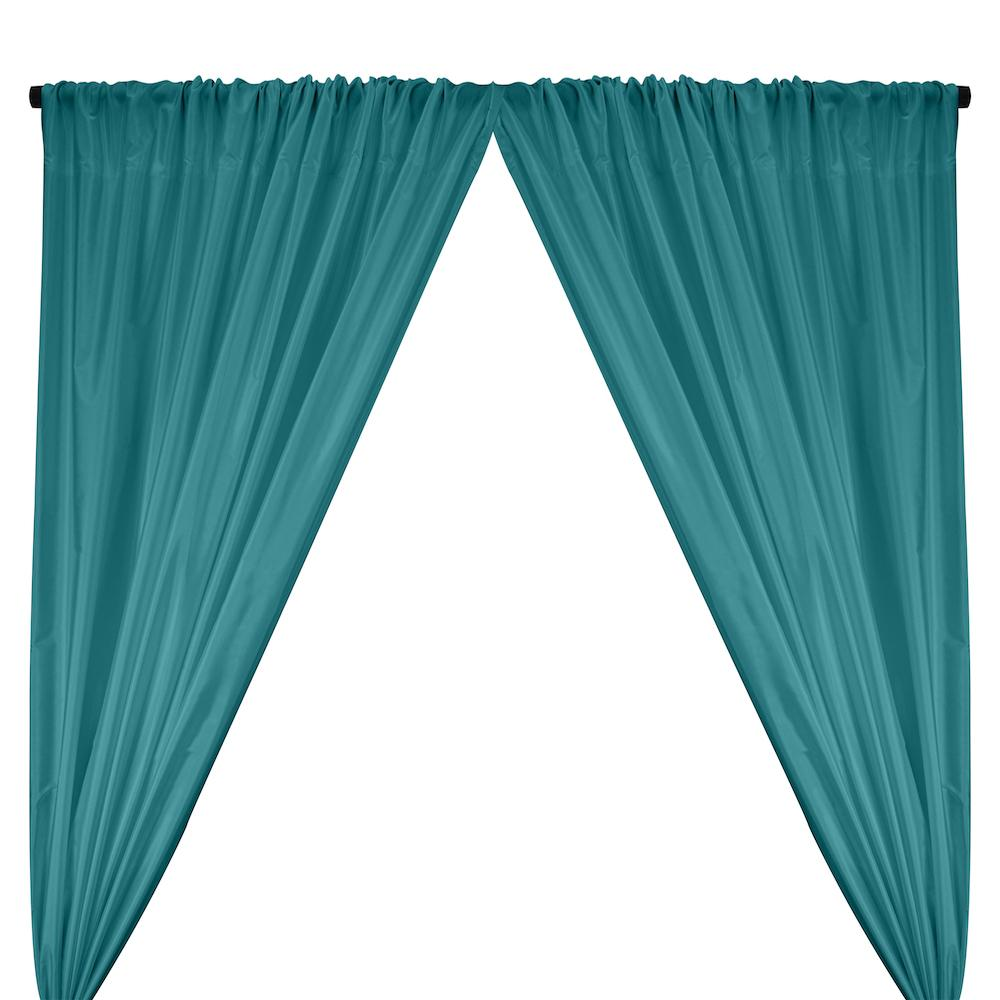 Polyester Taffeta Lining Rod Pocket Curtains - Teal
