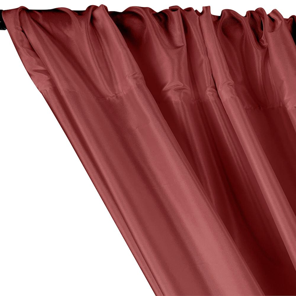Polyester Taffeta Lining Rod Pocket Curtains - Wine
