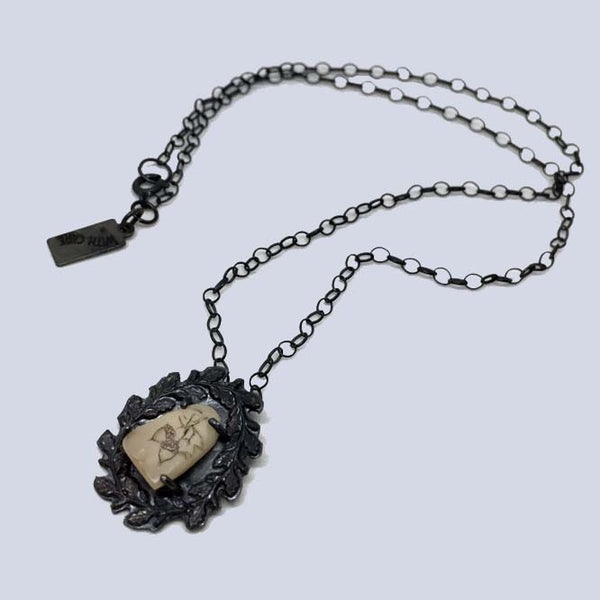 Acorn Wreath Scrimshaw Tooth Necklace