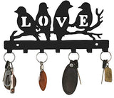 Load image into Gallery viewer, JaipurCrafts Love Birds Sturdy Iron Key Holder with 7 Hooks (Black, 10.6 X 6.1 X 0.8 Inch)