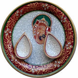 Load image into Gallery viewer, JaipurCrafts Lord Ganesha Marble Pooja & Thali Set (3 Pieces, Multicolor)