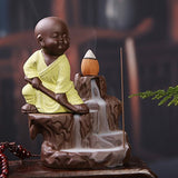Load image into Gallery viewer, Jaipurcrafts Webelkart Kung-Fu Style Monk Buddha Smoke Back Flow Cone Incense Holder