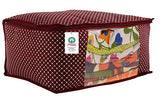 Load image into Gallery viewer, JaipurCrafts Quilted Polka Dots Cotton Saree Cover Set/Saree Storage Bag, Maroon (40 x 30 x 20 cm)-Pack of 2 (Cotton-Maroon)