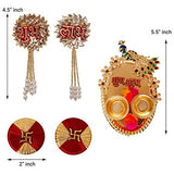 गैलरी व्यूवर में इमेज लोड करें, Webelkart Premium Combo of Designer Shubh Labh Wall Hanging, Swastika and Peacock Meenakari Pooja thali for Wall, Door, Diwali Decor