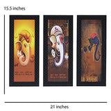 Load image into Gallery viewer, JaipurCrafts Lord Ganesha Set of 3 Large Framed UV Digital Reprint Painting (Wood, Synthetic, 41 cm x 53 cm)