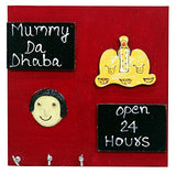 Load image into Gallery viewer, JaipurCrafts Beautiful Mummy Da Dhaba Wooden Key Holder | for Kitchen Decor | for Home Decor (3 Hooks, 7 in x 7 in)