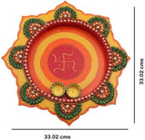 Load image into Gallery viewer, JaipurCrafts Decorative Kundan Studded Star Wooden Pooja & Thali Set (1 Pieces, Multicolor)