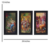 Load image into Gallery viewer, JaipurCrafts Radha Krishna Set of 3 Large Framed UV Digital Reprint Painting (Wood, Synthetic, 33 cm x 61 cm)