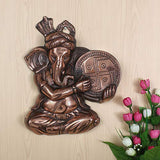Load image into Gallery viewer, Webelkart Wall Hanging of Lord Ganesha Playing Dhapli Showpiece - 34 cm (Original and Authentic)