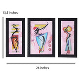 Load image into Gallery viewer, JaipurCrafts Modern Art Set of 3 Large Framed UV Digital Reprint Painting (Wood, Synthetic, 36 cm x 61 cm)