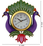 Load image into Gallery viewer, JaipurCrafts Beautiful Wooden Peacock Emboss Painting Wall Clock (Multicolor)