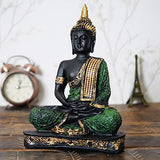 Load image into Gallery viewer, Webelkart Resin Sitting Buddha Idol, 10 IN, Green And Black, 1 Piece