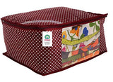 Load image into Gallery viewer, JaipurCrafts 6 Pieces Quilted Polka Dots Cotton Saree Cover Set, Maroon (40 x 30 x 20 cm)