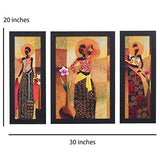 Load image into Gallery viewer, JaipurCrafts Radha Krishna Set of 3 Large Framed UV Digital Reprint Painting (Wood, Synthetic, 36 cm x 61 cm)