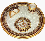 Load image into Gallery viewer, JaipurCrafts Om and Diya Pooja Thali (9 in,Red,Golden)