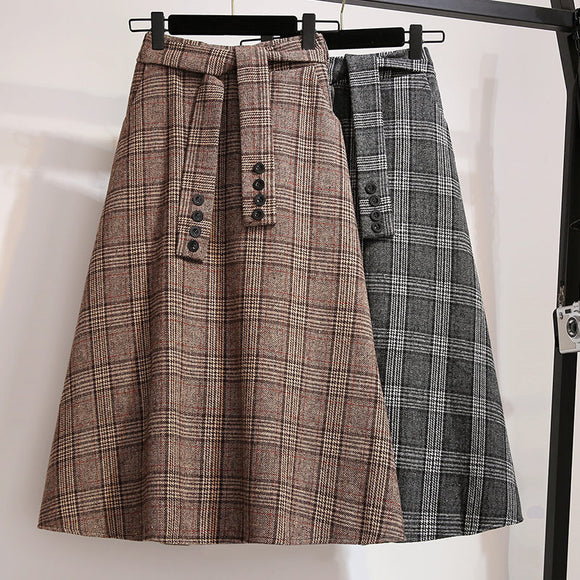 Large Size Women's Autumn and Winter Woolen Skirt 2019 New Plaid Skirts Womens High Waist Large Swing Jupe Lady Femme Saia f1920