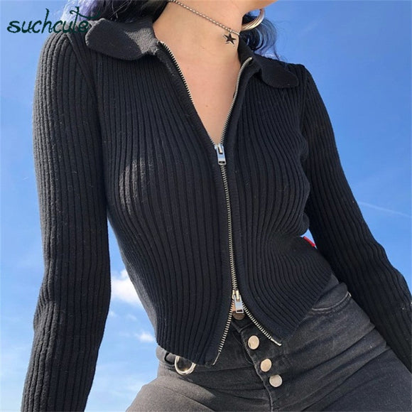 SUCHCUTE Modis women's jacket sweater cardigan With Zipper Black Knitting Casual Longslive Autumn 2019 Festival women clothes