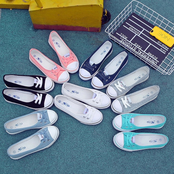 2019 Fashion Women's Casual Fashion New Soft Bottom White Shoes Solid Color Shallow Shoes Canvas Shoes Gilrs Sneakers Generation