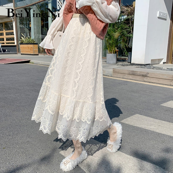 Beiyingni 2019 Fashion Midi Women's Skirt Hollow Out Lace Korean Casual A Line Skirt Simple Long Elegant Street OL Faldas Mujer