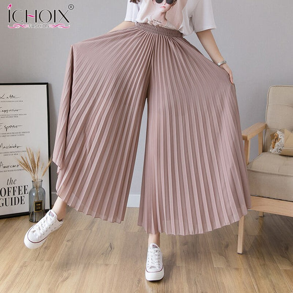 Autumn Summer Thin Section Chiffon Pleated Wide-leg Pants Women's High Waist Large Size Loose Trousers Nine Points Skirt Pants