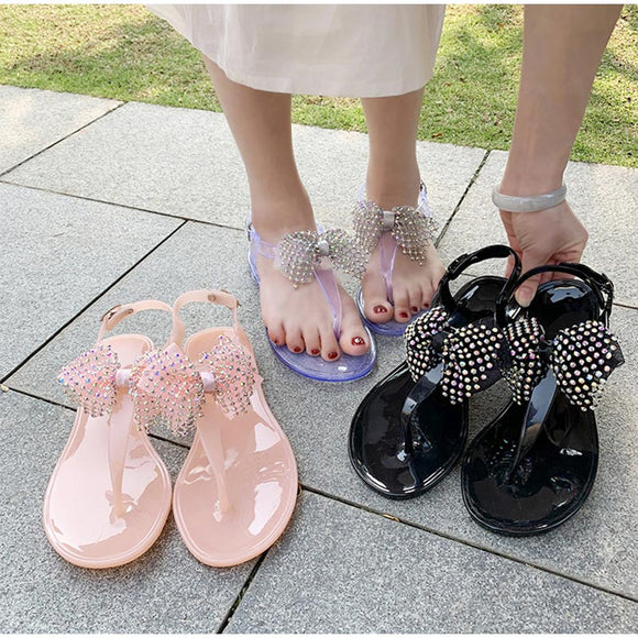 Women's Flat Slippers Clip Toes Bowtie Beach Summer Shoes Female Buckle Strap Jelly Shoe Flip Flops Casual Fashion Ladies 2021