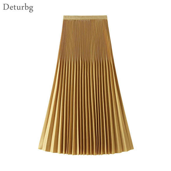 Women's Elegant Solid Color Pleated Skirt Female Korean High Waist A-Line Midi Skirts 8 Colors 2020 Summer Faldas Saias SK532