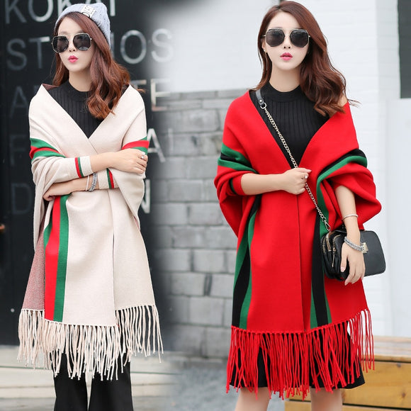 2019 Cardigan Winter Women's Elegant Tassel Wrap Swing Cardigan Knitted Oversized Sweater Scarf Women's Sweater Blouse Plus Size