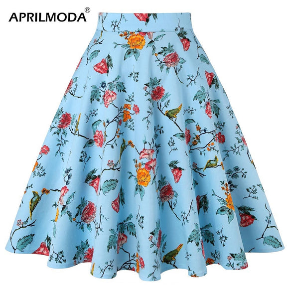 Vintage Skirt 50s 60s Retro High Waist Skater Floral Printed Pin Up Rockabilly Office Casual Women's Clothing For Party 2020