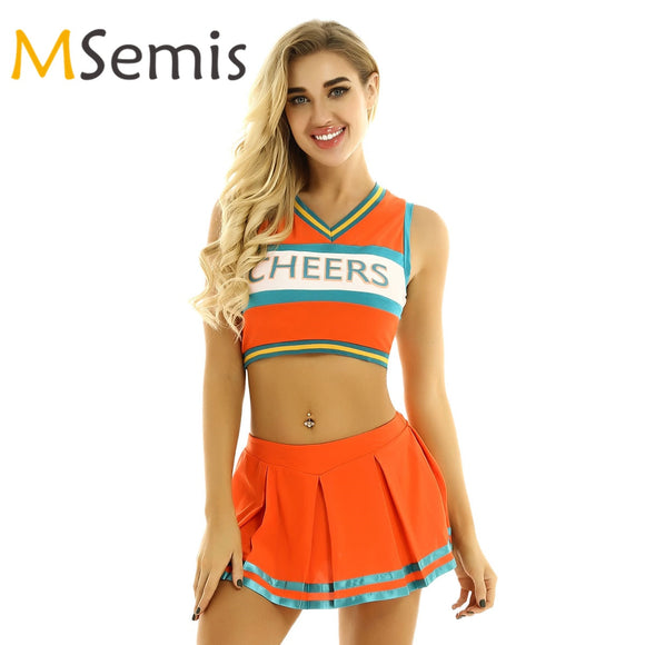 Women's Cheerleading Sports Uniform Cheerleader Costume Cosplay Dancewear Outfit Crop Top with Mini Pleated Skirt for Dancing