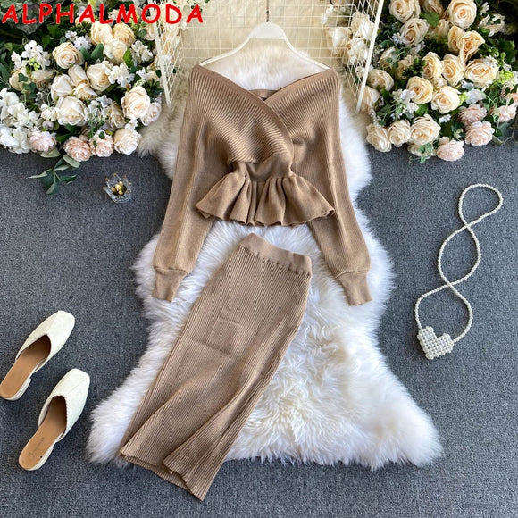 ALPHALMODA New Sparkling Bat-sleeve Sweater Skirt Suit 2020 Women's V-neck Sexy Ruffled Jumper Pencil Skirt 2pcs Fashion Set