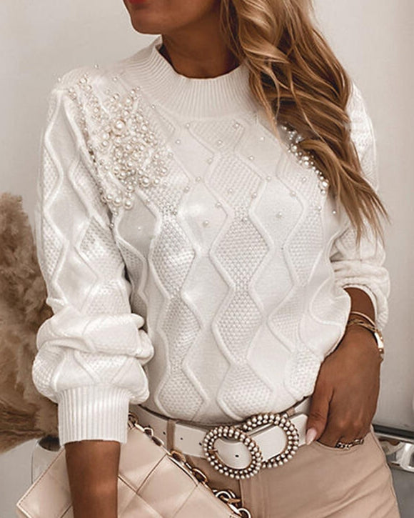 Winter women's elegant solid color large size long-sleeved O-neck sweater women's beaded casual tops ladies fashion all-match