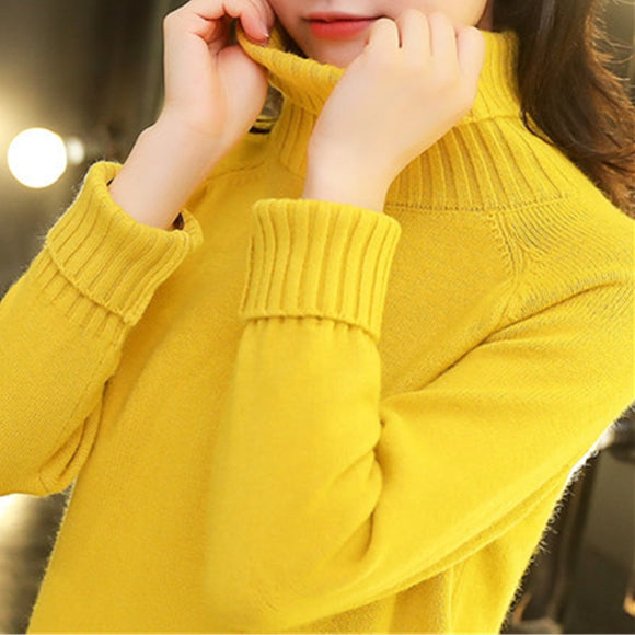 Turtleneck Black White Sweater Women 2020 New Autumn winter Fashion Loose Knit Sweaters Female Thick Warm Tops Outerwear