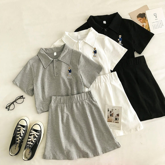 Summer Skirts and Tops Sets Women's Tracksuits Polo shirts And Elastic High Waist A Line Skirt Two Pieces Outfits Female Shirts